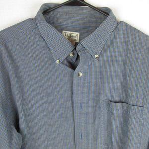 L L Bean Mens Dress Shirt Blue Hue Button Front XL